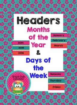 Calendar Headers for Months of the Year and Days of the Week