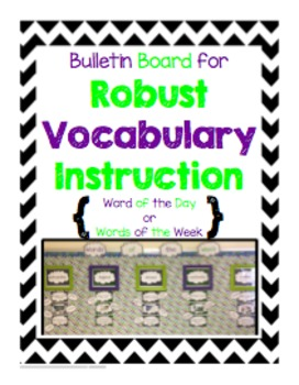 Bulletin Board for Robust Vocabulary Instruction - Purple & Green