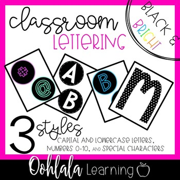 Bulletin Board Letters: Black and Bright