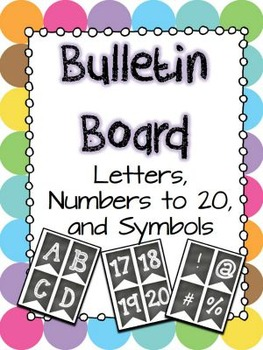 Bulletin board letters, numbers, and symbols