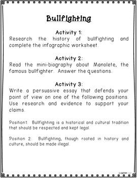 Bullfighting, Persuasive Writing, Research Infographic, KWL, Manolete Biography