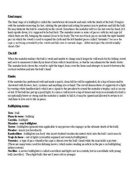 Bullfighting worksheet