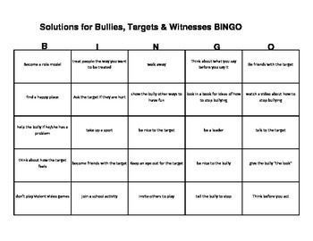 Bullies, Targets & Witnesses BINGO game