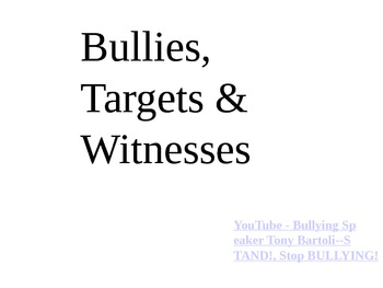 Bullies, Targets & Witnesses Powerpoint