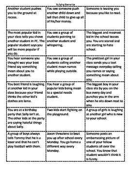Bulllying Scenarios and Bully vs. Mean Cards