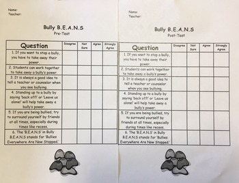 Bully B.E.A.N.S Pre and Post Test