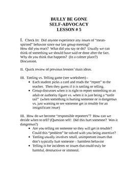 Bully Be Gone - Self Advocacy Lesson 5