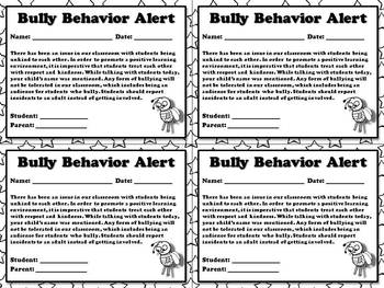 Bully Behavior Alert - Note for Parents  - King Virtue