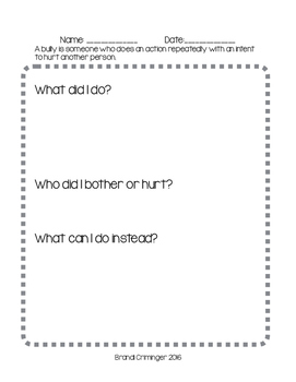 Bully/ Behavior Plan