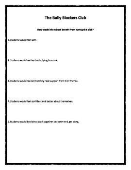 Bully Blockers Club Poster worksheet activity