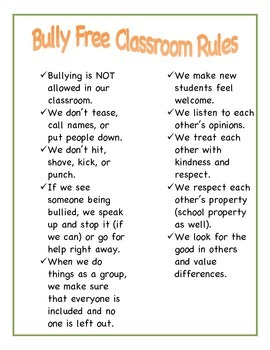 Bully Free Classroom Rules