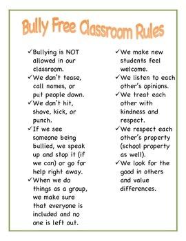 Bully Free Classroom Rules