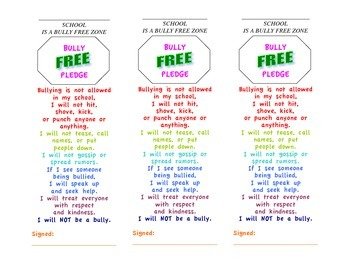 Bully Free Pledge Bookmarks