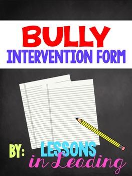 Bully Intervention Form
