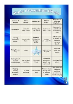 Bully Prevention Bingo