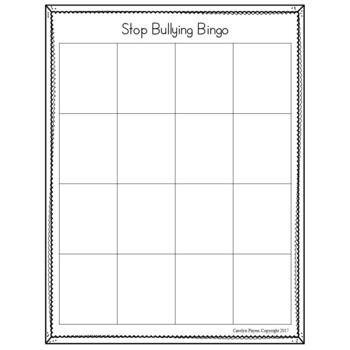 Bully Prevention Bingo