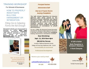 """Bully Prevention """"How to Investigate Complaints"""" Workshop"""