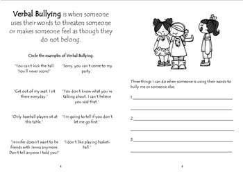 Bullying Activity: Stand Up to Bullying Booklet