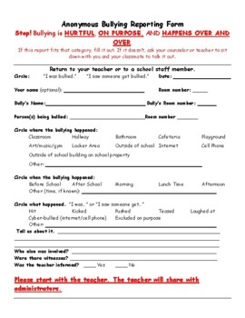 Bully Report Form and Reflection Sheets