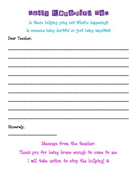 Bully Reporting Box Letter {Bully Prevention}