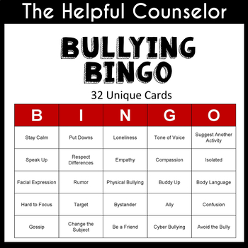 Bullying Bingo Game ~ Helpful School Counselor