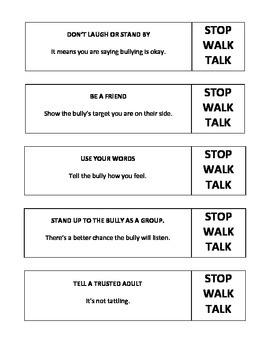 Bullying Bookmarks: STOP, WALK, TALK