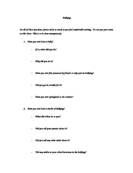 Bullying - Classroom discussion questions