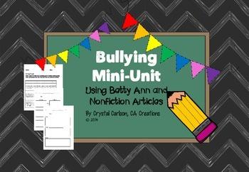 "Bullying Mini-Unit Using ""Betty Ann"" Short Story {Common C"