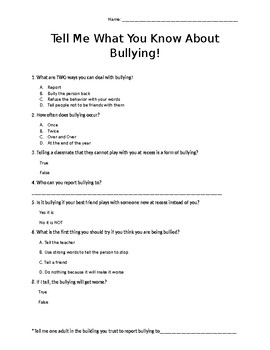 Bullying Post Quiz