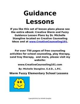 Free Warm Fuzzy Elementary School Counselor / Teacher Guidance Package
