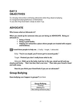Bullying Prevention - First Grade