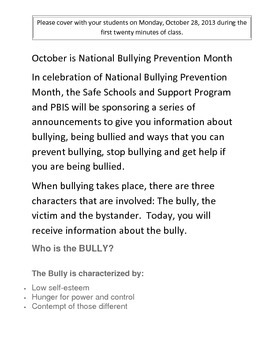Bullying Prevention Month Daily Announcement #1