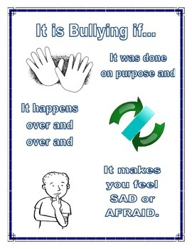 Bullying Prevention Poster - 3 components of bullying Guidance Counseling
