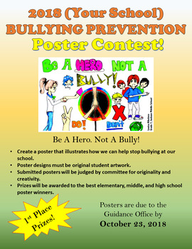 Bullying Prevention Poster Contest Flyer Template