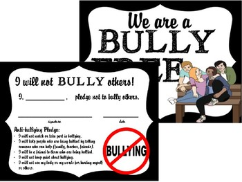 Bullying Prevention Powerpoint Activity Bundle with Notes, Posters, Certificate