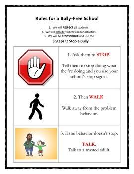 Bullying Prevention Program: STOP, WALK, TALK poster
