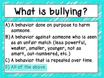 Bullying Prevention-Quiz, Quiz, Trade Cards