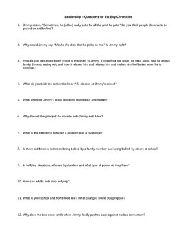 """Bullying - Questions for movie, """"Fat Boy Chronicles"""""""