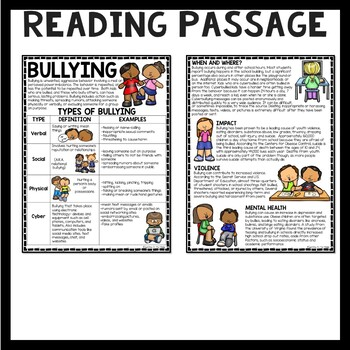 Bullying Reading Comprehension Worksheet, Types, Examples, Counseling