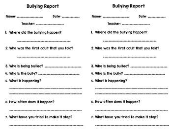 Bullying Report Slips