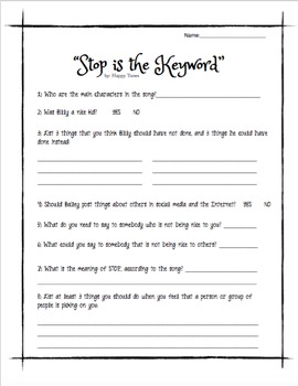 """Bullying Song MP3 """"Stop is the Keyword"""" lyrics and activities w/cyberbullying"""