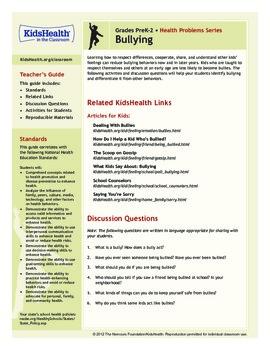 Bullying Teacher's Guide (Pre-K to Grade 2)