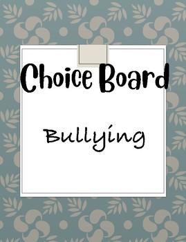 Bullying Tic-Tac-Toe Choice Board