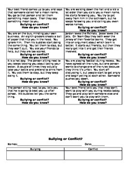 Bullying VS Conflict Task Cards