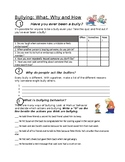 Bullying: What, Why, and How Worksheet, Bullying Worksheet