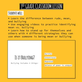 """3rd Gr. Bullying Lesson - """"What it is, What it isn't, and how to stop it"""""""