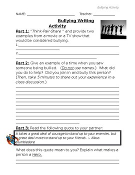 Bullying Writing Activity (Guidance Activity)