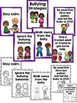 Bullying and Cyber Bullying (Cyberbullying) Poster Set--Strategies--Definitions
