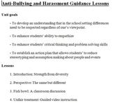 Bullying and harassment prevention guidance lessons