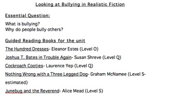 Bullying as Seen in Realistic Fiction